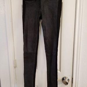rag & bone black jean/lambskin leather pants sz 26